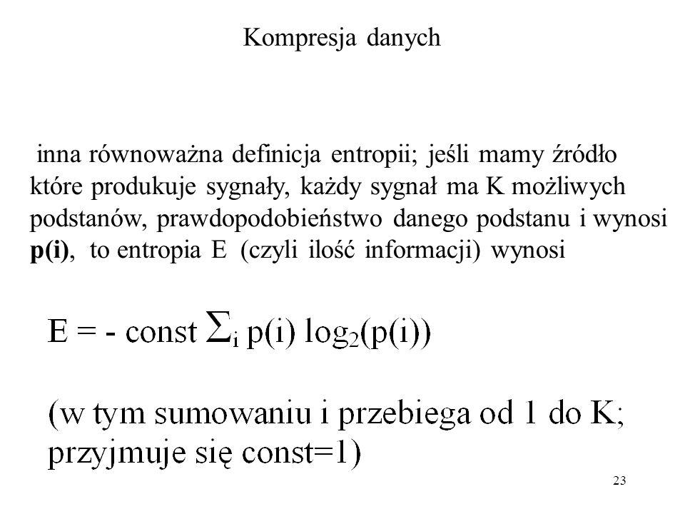 23 Kompresja danych inna równoważna definicja entropii; jeśli mamy źródło które produkuje sygnały, każdy sygnał ma K możliwych podstanów, prawdopodobi