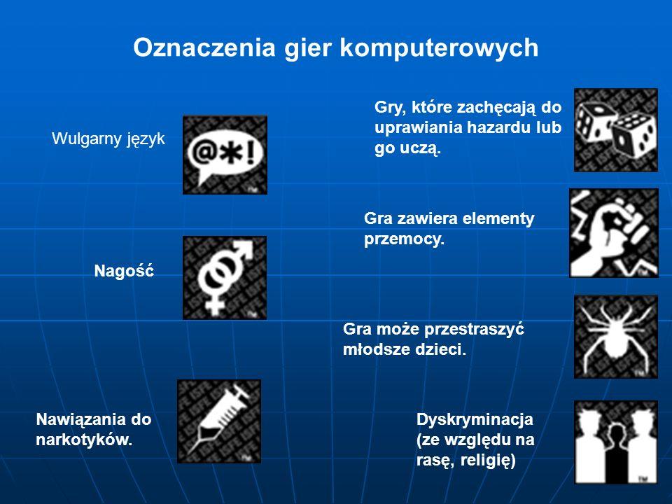 Oznaczenia gier komputerowych Wulgarny język Nagość Nawiązania do narkotyków. Dyskryminacja (ze względu na rasę, religię) Gry, które zachęcają do upra
