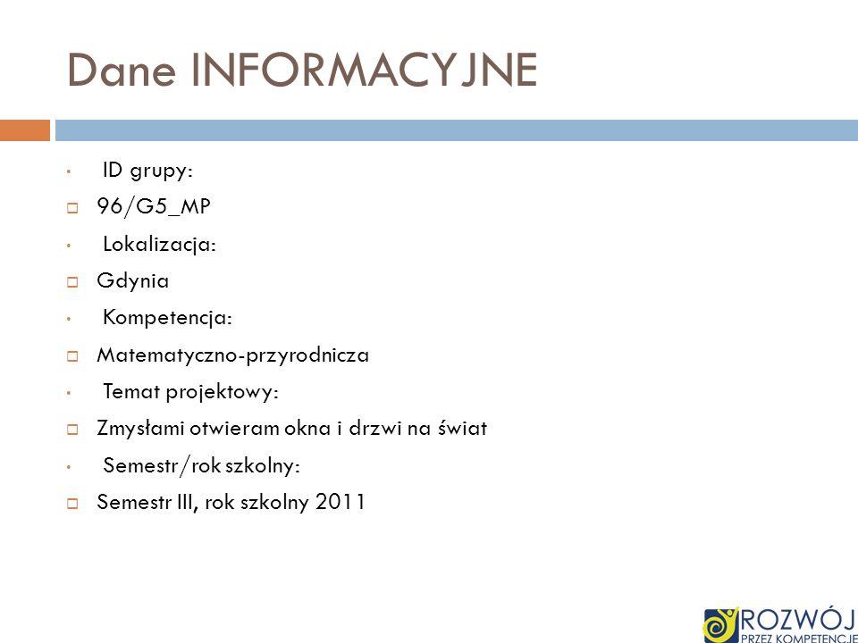 Dane INFORMACYJNE ID grupy: 96/G5_MP Lokalizacja: Gdynia Kompetencja: Matematyczno-przyrodnicza Temat projektowy: Zmysłami otwieram okna i drzwi na św