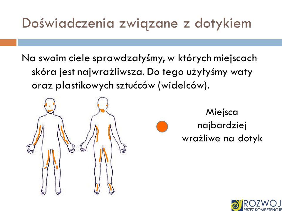 Doświadczenia związane z dotykiem Na swoim ciele sprawdzałyśmy, w których miejscach skóra jest najwrażliwsza. Do tego użyłyśmy waty oraz plastikowych