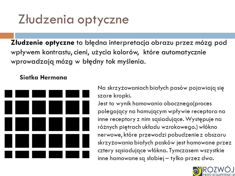 Złudzenia optyczne Złudzenie optyczne to błędna interpretacja obrazu przez mózg pod wpływem kontrastu, cieni, użycia kolorów, które automatycznie wpro