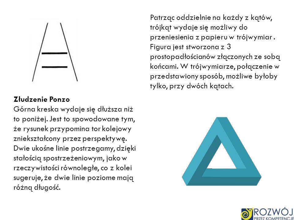 Patrząc oddzielnie na każdy z kątów, trójkąt wydaje się możliwy do przeniesienia z papieru w trójwymiar. Figura jest stworzona z 3 prostopadłościanów