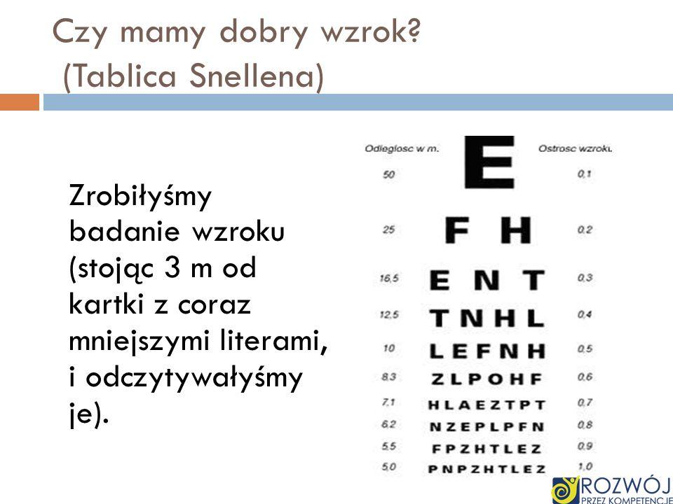 Czy mamy dobry wzrok? (Tablica Snellena) Zrobiłyśmy badanie wzroku (stojąc 3 m od kartki z coraz mniejszymi literami, i odczytywałyśmy je).