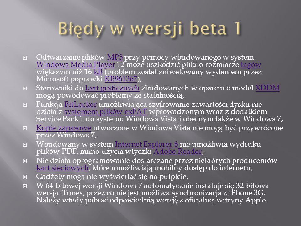 beta 2 - czerwiec 2009czerwiec2009 RC 1 (ang.