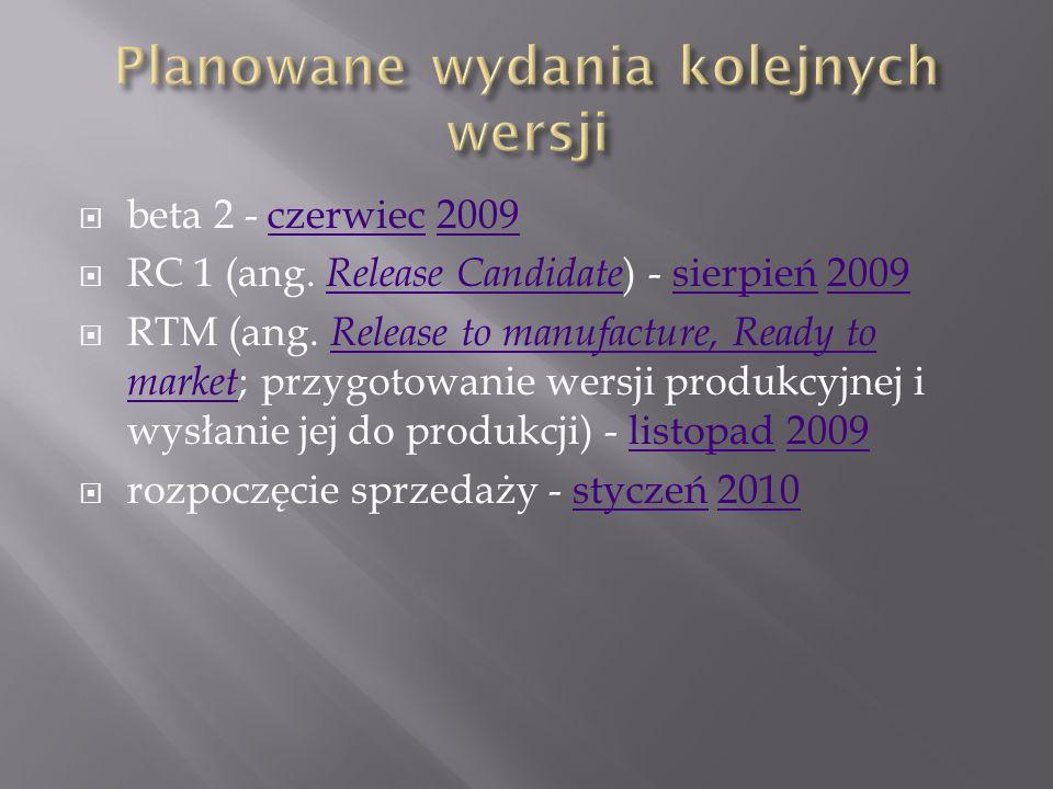 Główna wersja Build Data skompilowania Najważniejsze zmiany Windows 7 M1 6429 [19] 14 maja 2007 Brak widocznych [19] 6519 20 grudnia 2007 Nowy ekran startowy Dodanie aplikacji Powershell Możliwość umieszczania gadżetów bezpośrednio na pulpicie Dodany gadżet Media Center Dodanie programu XPS Viewer Możliwość nagrania dysku ratunkowego Łatwe zarządzania np.