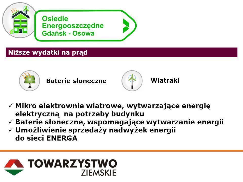 Niższe wydatki na prąd Mikro elektrownie wiatrowe, wytwarzające energię elektryczną na potrzeby budynku Baterie słoneczne, wspomagające wytwarzanie en