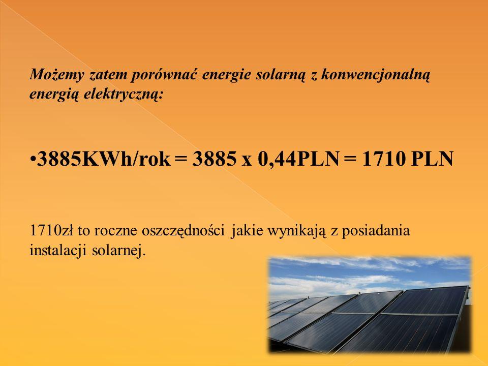 Możemy zatem porównać energie solarną z konwencjonalną energią elektryczną: 3885KWh/rok = 3885 x 0,44PLN = 1710 PLN 1710zł to roczne oszczędności jakie wynikają z posiadania instalacji solarnej.