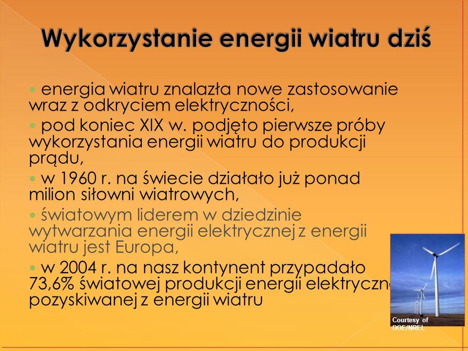 energia wiatru znalazła nowe zastosowanie wraz z odkryciem elektryczności, pod koniec XIX w. podjęto pierwsze próby wykorzystania energii wiatru do pr