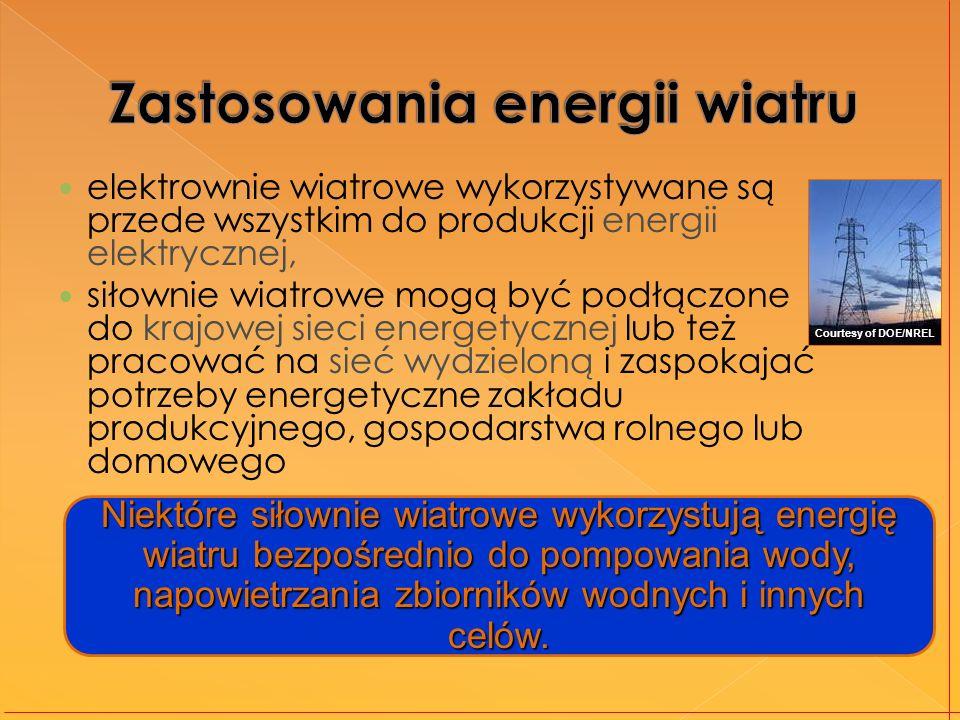 elektrownie wiatrowe wykorzystywane są przede wszystkim do produkcji energii elektrycznej, siłownie wiatrowe mogą być podłączone do krajowej sieci energetycznej lub też pracować na sieć wydzieloną i zaspokajać potrzeby energetyczne zakładu produkcyjnego, gospodarstwa rolnego lub domowego Niektóre siłownie wiatrowe wykorzystują energię wiatru bezpośrednio do pompowania wody, napowietrzania zbiorników wodnych i innych celów.