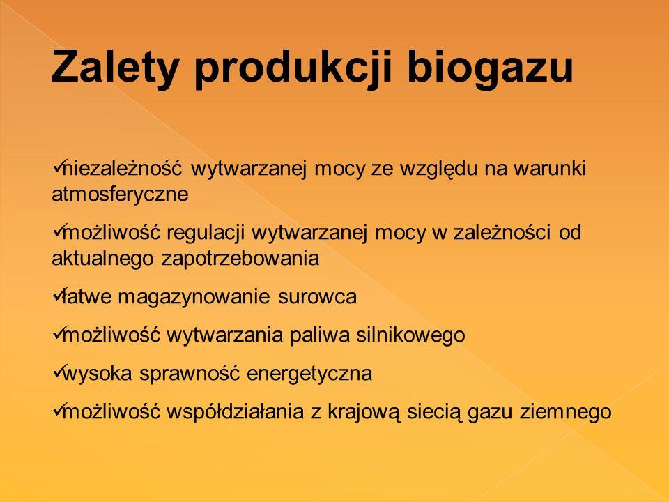 Zalety produkcji biogazu niezależność wytwarzanej mocy ze względu na warunki atmosferyczne możliwość regulacji wytwarzanej mocy w zależności od aktual