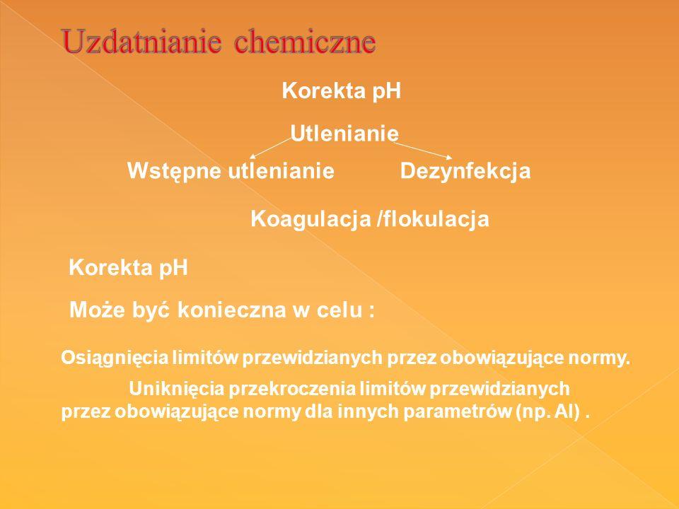 Wstępne utlenianieDezynfekcja Korekta pH Utlenianie Koagulacja /flokulacja Korekta pH Może być konieczna w celu : Osiągnięcia limitów przewidzianych przez obowiązujące normy.