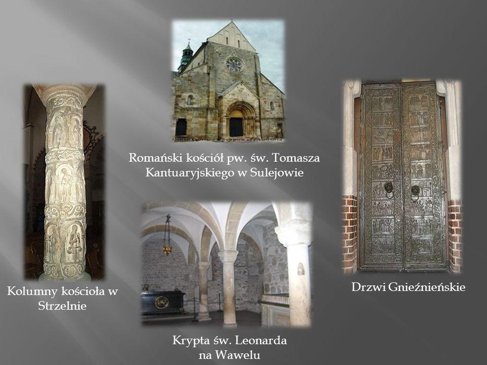 Kolumny kościoła w Strzelnie Drzwi Gnieźnieńskie Krypta św.