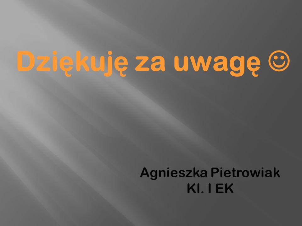 Dzi ę kuj ę za uwag ę Agnieszka Pietrowiak Kl. I EK