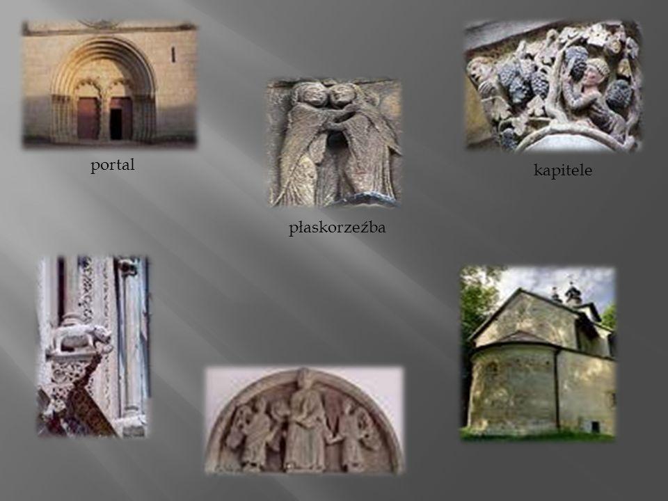 Malarstwo romańskie Cechy malarstwa: malowanie obrazów na wewnętrznych ścianach kościołów - fresków, mozaik, witraży i miniatur, duża popularność malarstwa miniaturowego - ręcznie pisane i ilustrowane księgi, plakietki, puzderka, stosowanie roztopionego wosku do malowania na deskach, określony sposób malowania: obrysowywanie postaci, dopiero później ich kolorowanie, najczęściej na złotym i srebrnym tle, charakterystyczny wygląd postaci (głowy przechylone o surowym wyrazie twarzy, palce rąk wykrzywione, nogi rozstawione - to znamiona ruchu), właściwe dla tamtych czasów stroje: suknie, płaszcze, krótkie tuniki, dla świętych - długie szaty, duże zainteresowanie witrażownictwem, skoncentrowanie się na tematyce biblijnej, malowanie elementów roślinnych.