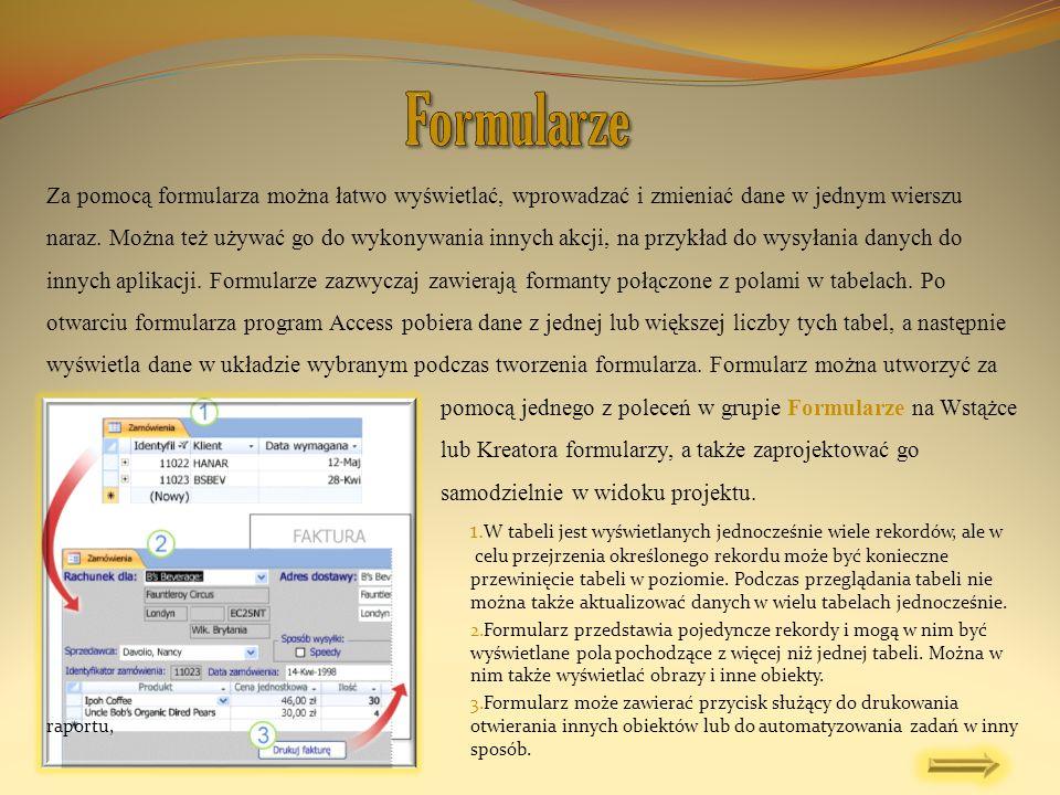 Za pomocą formularza można łatwo wyświetlać, wprowadzać i zmieniać dane w jednym wierszu naraz. Można też używać go do wykonywania innych akcji, na pr
