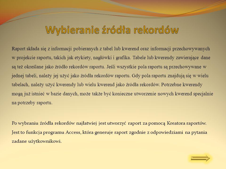 Raport składa się z informacji pobieranych z tabel lub kwerend oraz informacji przechowywanych w projekcie raportu, takich jak etykiety, nagłówki i gr