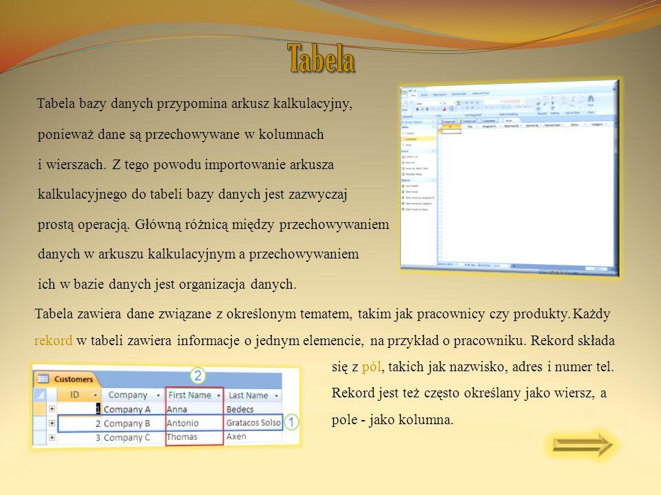Tabela bazy danych przypomina arkusz kalkulacyjny, ponieważ dane są przechowywane w kolumnach i wierszach. Z tego powodu importowanie arkusza kalkulac