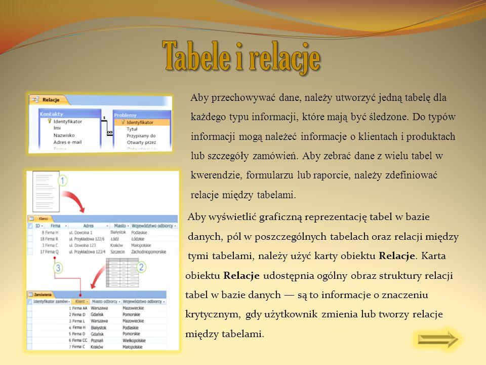 Aby przechowywać dane, należy utworzyć jedną tabelę dla każdego typu informacji, które mają być śledzone. Do typów informacji mogą należeć informacje