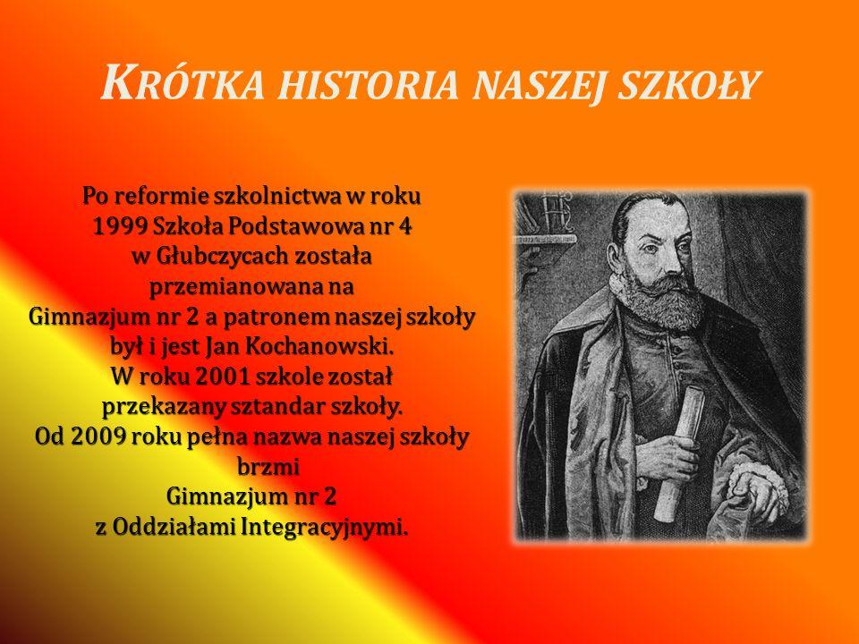 K RÓTKA HISTORIA NASZEJ SZKOŁY Po reformie szkolnictwa w roku 1999 Szkoła Podstawowa nr 4 w Głubczycach została przemianowana na Gimnazjum nr 2 a patr
