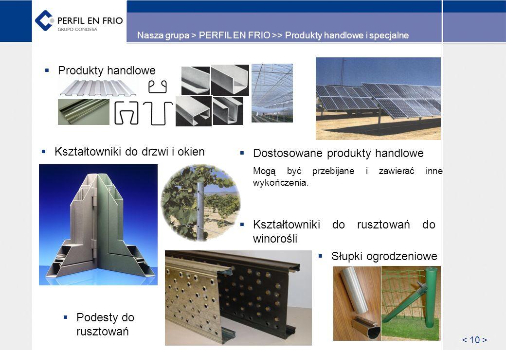 Nasza grupa > PERFIL EN FRIO >> Produkty handlowe i specjalne Dostosowane produkty handlowe Mogą być przebijane i zawierać inne wykończenia. Produkty