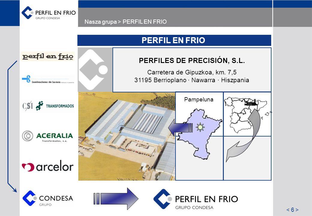Nasza grupa > PERFIL EN FRIO PERFIL EN FRIO PERFILES DE PRECISIÓN, S.L. Carretera de Gipuzkoa, km. 7,5 31195 Berrioplano · Nawarra · Hiszpania Pampelu