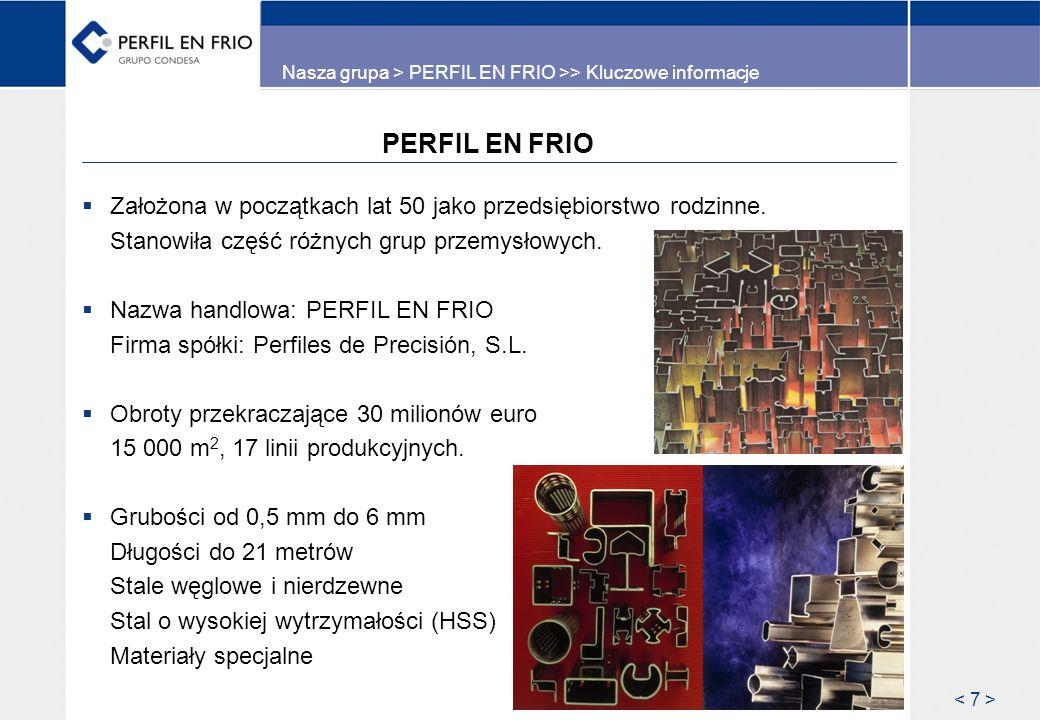 PERFIL EN FRIO Założona w początkach lat 50 jako przedsiębiorstwo rodzinne. Stanowiła część różnych grup przemysłowych. Nazwa handlowa: PERFIL EN FRIO