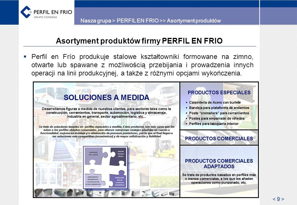 Asortyment produktów firmy PERFIL EN FRIO Perfil en Frío produkuje stalowe kształtowniki formowane na zimno, otwarte lub spawane z możliwością przebij
