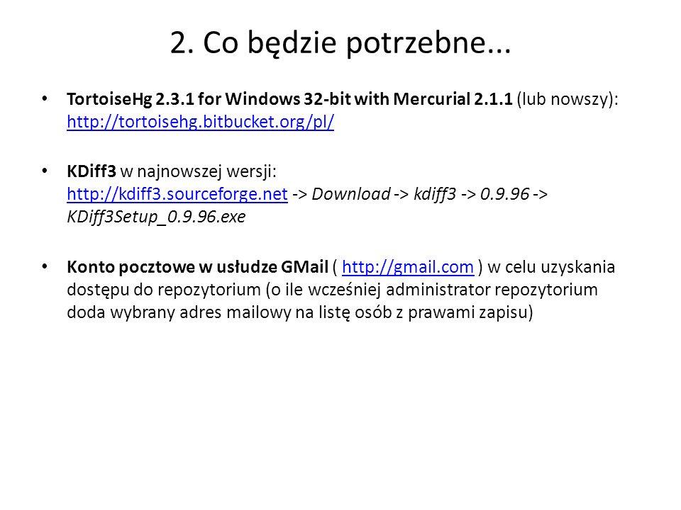 2. Co będzie potrzebne... TortoiseHg 2.3.1 for Windows 32-bit with Mercurial 2.1.1 (lub nowszy): http://tortoisehg.bitbucket.org/pl/ http://tortoisehg