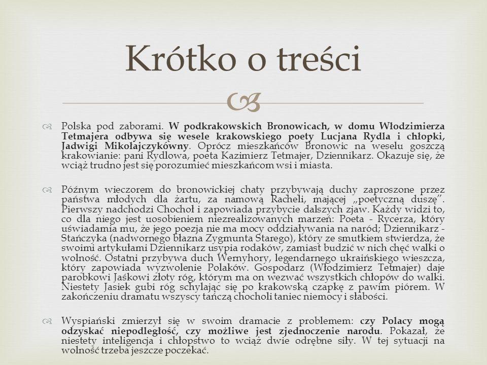 Polska pod zaborami. W podkrakowskich Bronowicach, w domu Włodzimierza Tetmajera odbywa się wesele krakowskiego poety Lucjana Rydla i chłopki, Jadwigi