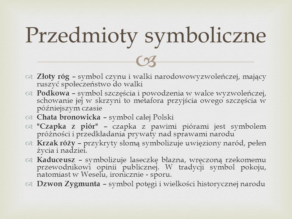 Złoty róg – symbol czynu i walki narodowowyzwoleńczej, mający ruszyć społeczeństwo do walki Podkowa – symbol szczęścia i powodzenia w walce wyzwoleńcz