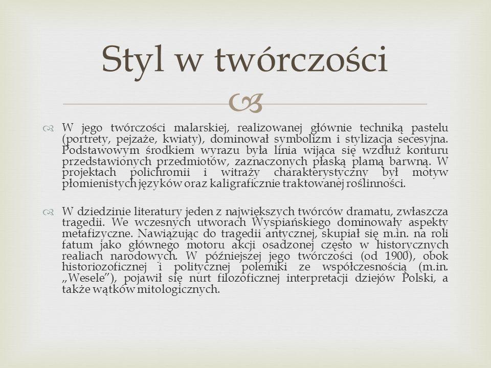 Złoty róg – symbol czynu i walki narodowowyzwoleńczej, mający ruszyć społeczeństwo do walki Podkowa – symbol szczęścia i powodzenia w walce wyzwoleńczej, schowanie jej w skrzyni to metafora przyjścia owego szczęścia w późniejszym czasie Chata bronowicka – symbol całej Polski Czapka z piór – czapka z pawimi piórami jest symbolem próżności i przedkładania prywaty nad sprawami narodu Krzak róży – przykryty słomą symbolizuje uwięziony naród, pełen życia i nadziei.