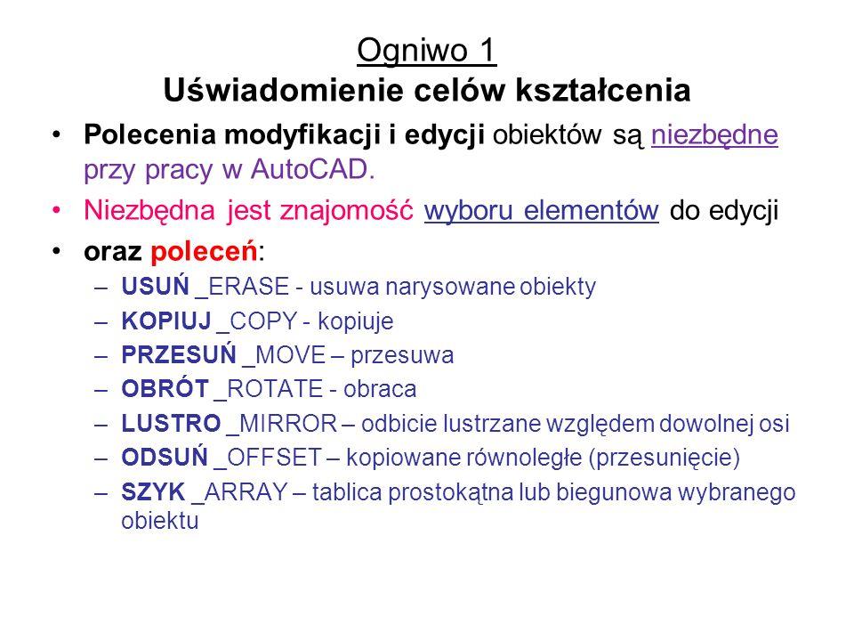 Polecenie Wybierz _SELECT Klawiatura: WYBIERZ _SELECT –Grupuje elementy w zbiór wskazań do użytku w następnych poleceniach.