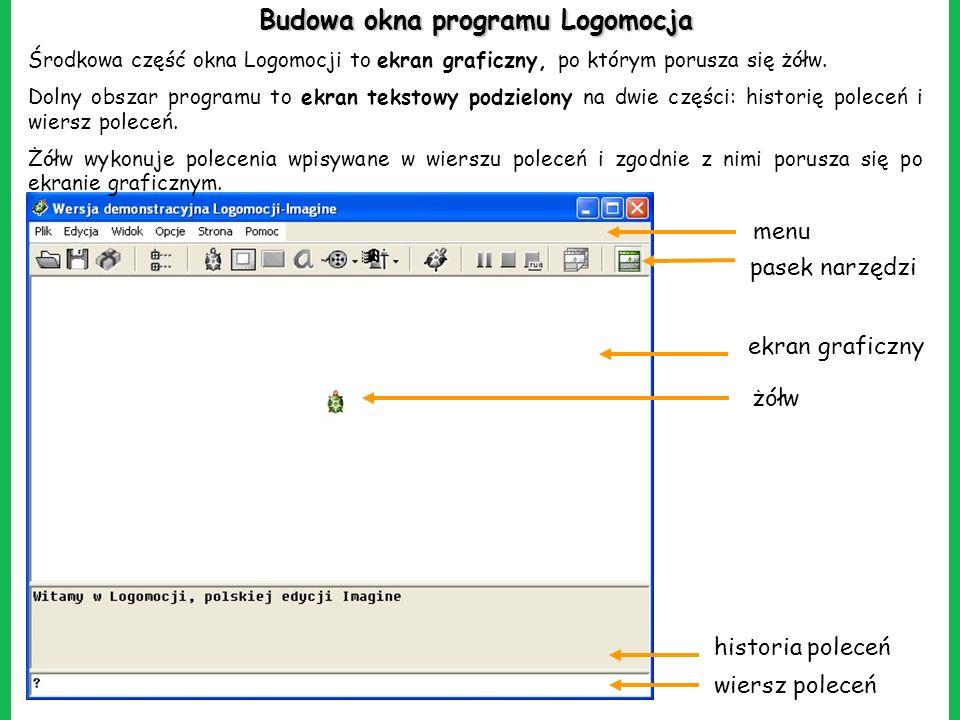Budowa okna programu Logomocja Środkowa część okna Logomocji to ekran graficzny, po którym porusza się żółw. Dolny obszar programu to ekran tekstowy p