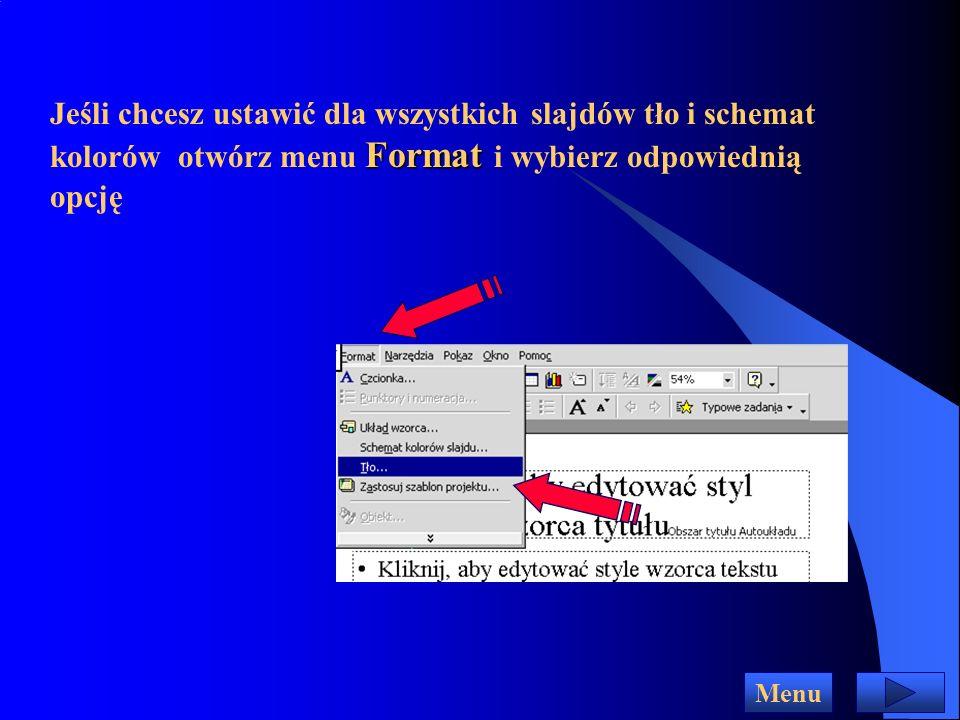 Strona wzorca slajdów Menu Aby zmienić którykolwiek z elementów wzorca, kliknij obszar, w którym się znajduje, zaznacz myszką odpowiedni tekst i dokonaj zmian Możesz również usunąć zbędne elementy lub dodać własne