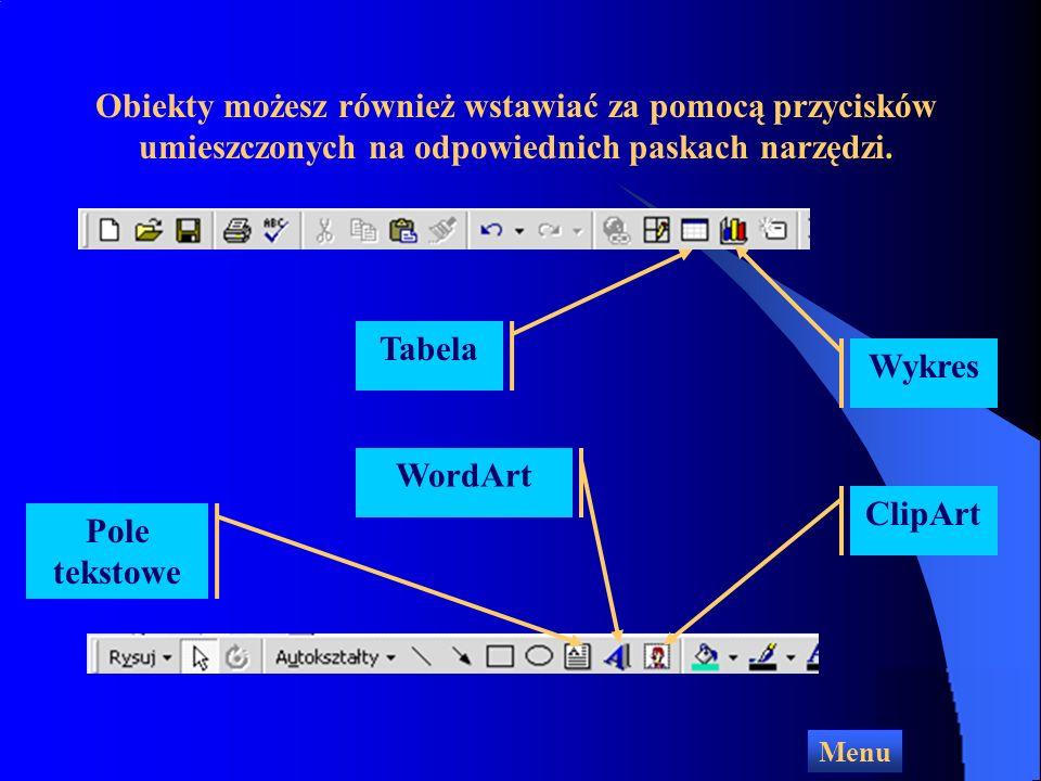 Dodawanie różnych obiektów Menu Wstaw Aby wstawić do slajdu Pole tekstowe, rysunek, obiekt WordArt dźwięk, film wideo lub inny obiekt, otwórz menu Wstaw i wybierz odpowiednią opcję
