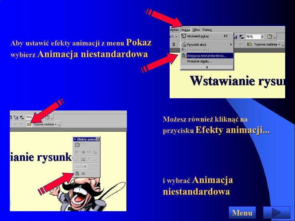 Efekty animowane dla obiektów na slajdzie Tekst na slajdzie może pojawiać się litera po literze jak gdyby był wpisywany z klawiatury samochód może wjechać na ekran z piskiem opon Może temu towarzyszyć dźwięk pisania na maszynie...