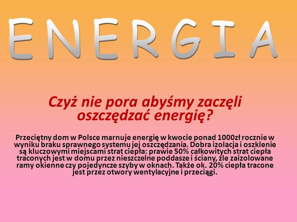 Czyż nie pora abyśmy zaczęli oszczędzać energię? Przeciętny dom w Polsce marnuje energię w kwocie ponad 1000zł rocznie w wyniku braku sprawnego system