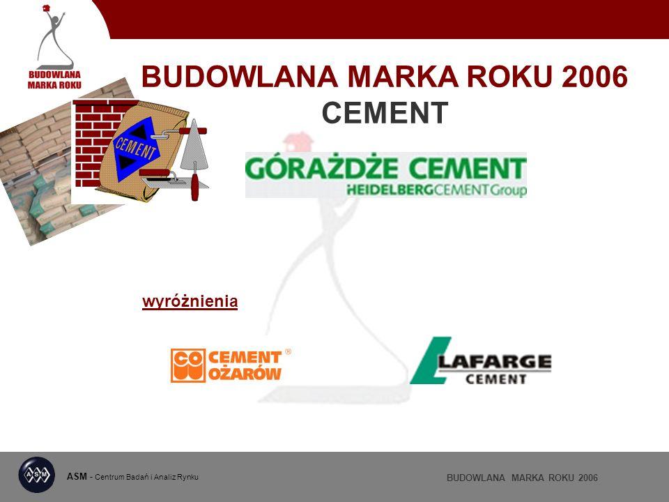 BUDOWLANA MARKA ROKU 2006 CEMENT ASM - Centrum Badań i Analiz Rynku BUDOWLANA MARKA ROKU 2006 wyróżnienia