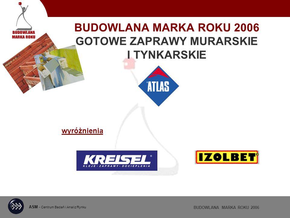 BUDOWLANA MARKA ROKU 2006 GOTOWE ZAPRAWY MURARSKIE I TYNKARSKIE ASM - Centrum Badań i Analiz Rynku BUDOWLANA MARKA ROKU 2006 wyróżnienia
