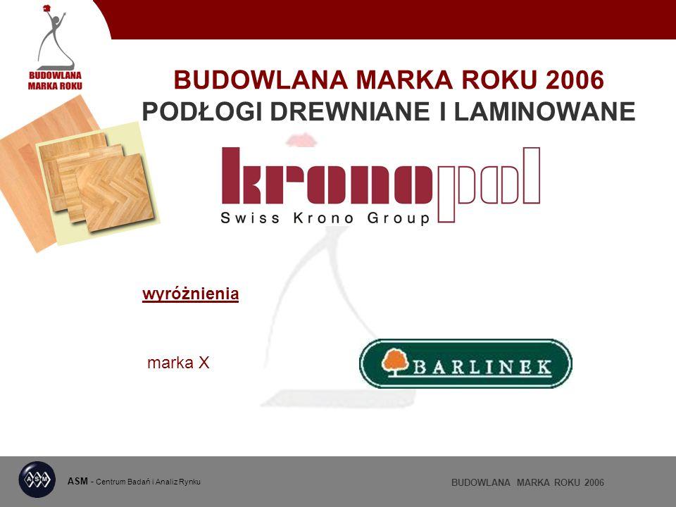 BUDOWLANA MARKA ROKU 2006 PODŁOGI DREWNIANE I LAMINOWANE ASM - Centrum Badań i Analiz Rynku BUDOWLANA MARKA ROKU 2006 wyróżnienia marka X