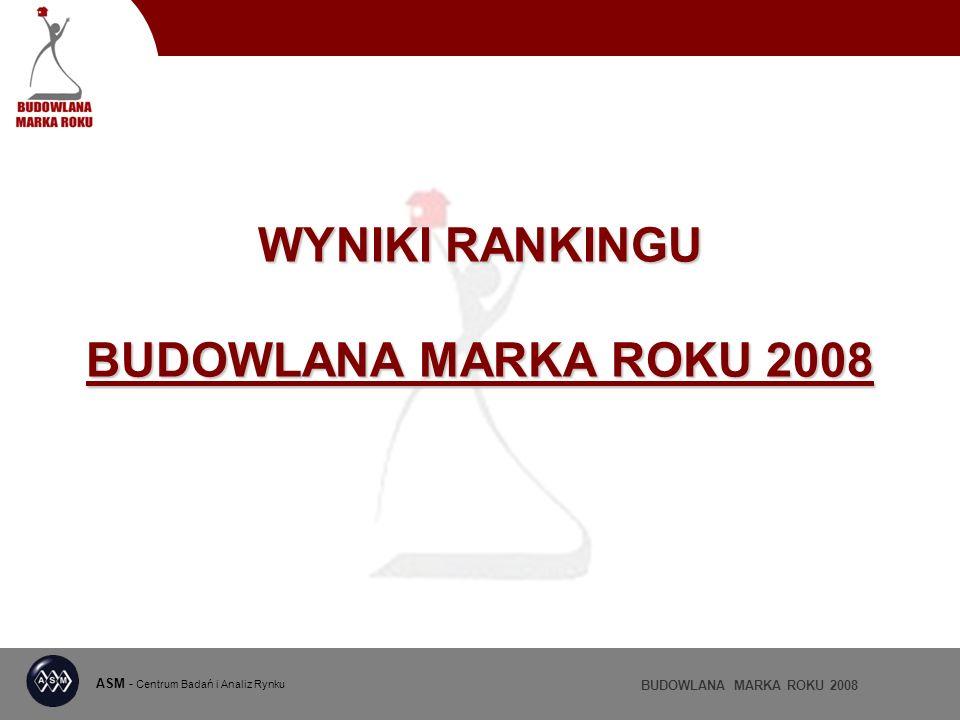 ASM - Centrum Badań i Analiz Rynku BUDOWLANA MARKA ROKU 2008 WYNIKI RANKINGU BUDOWLANA MARKA ROKU 2008