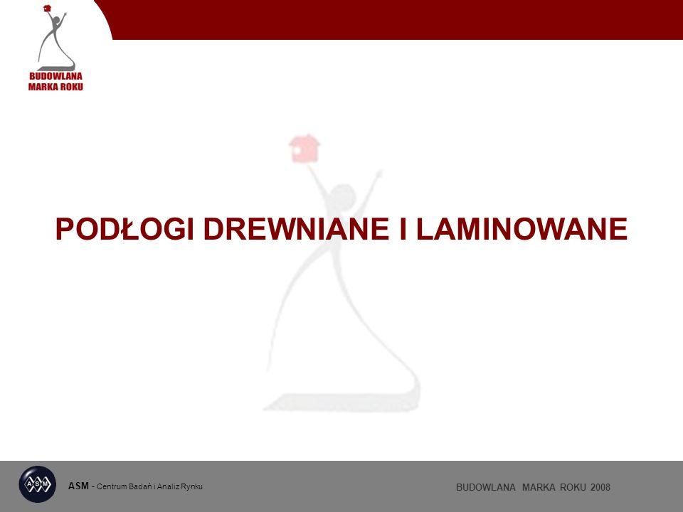 ASM - Centrum Badań i Analiz Rynku BUDOWLANA MARKA ROKU 2008 PODŁOGI DREWNIANE I LAMINOWANE