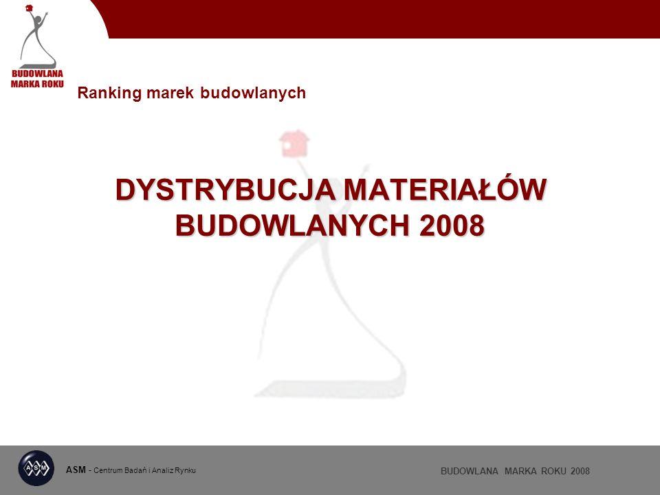 ASM - Centrum Badań i Analiz Rynku BUDOWLANA MARKA ROKU 2008 DYSTRYBUCJA MATERIAŁÓW BUDOWLANYCH 2008 Ranking marek budowlanych