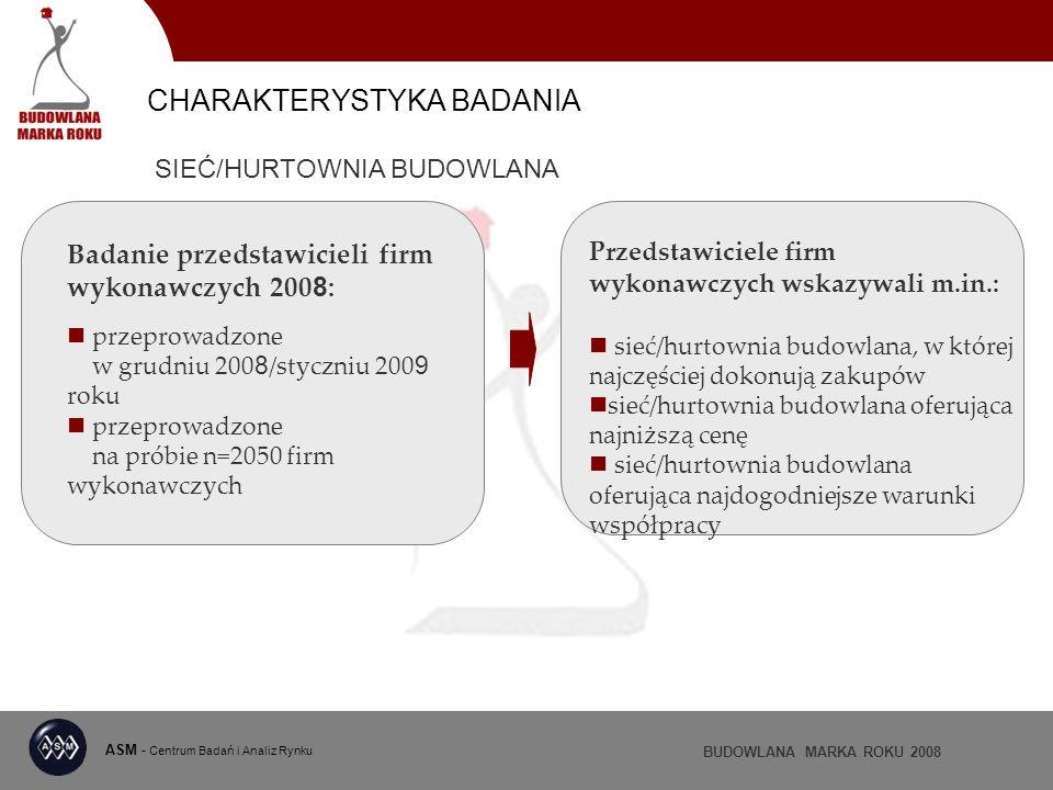 ASM - Centrum Badań i Analiz Rynku BUDOWLANA MARKA ROKU 2008 Badanie przedstawicieli firm wykonawczych 200 8 : przeprowadzone w grudniu 200 8 /styczni