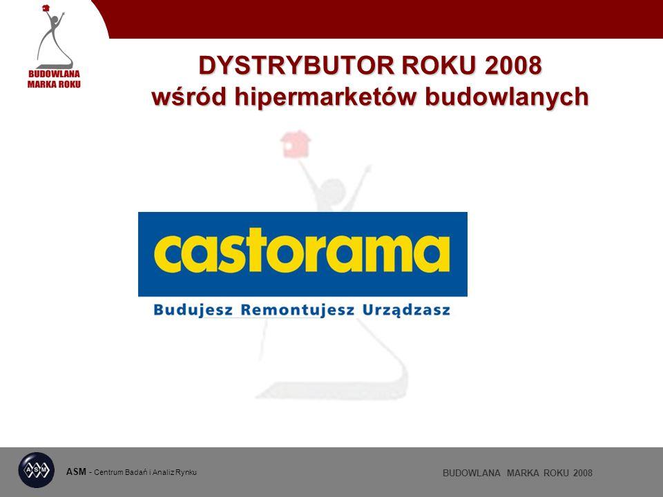 ASM - Centrum Badań i Analiz Rynku BUDOWLANA MARKA ROKU 2008 DYSTRYBUTOR ROKU 2008 wśród hipermarketów budowlanych