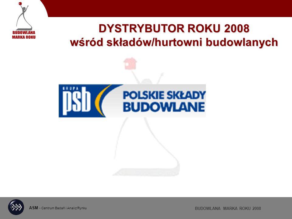 ASM - Centrum Badań i Analiz Rynku BUDOWLANA MARKA ROKU 2008 DYSTRYBUTOR ROKU 2008 wśród składów/hurtowni budowlanych