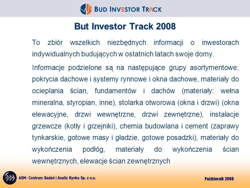 Październik 2008 But Investor Track 2008 To zbiór wszelkich niezbędnych informacji o inwestorach indywidualnych budujących w ostatnich latach swoje domy.