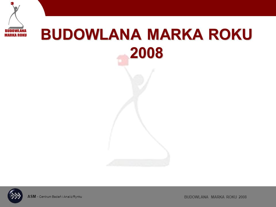 ASM - Centrum Badań i Analiz Rynku BUDOWLANA MARKA ROKU 2008 Wyróżnienia w kategorii FARBY WEWNĘTRZNE 19,6% 7,7%