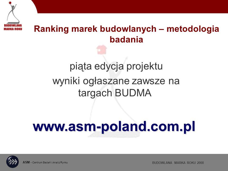 ASM - Centrum Badań i Analiz Rynku BUDOWLANA MARKA ROKU 2008 Ranking marek budowlanych – metodologia badania piąta edycja projektu wyniki ogłaszane zawsze na targach BUDMA www.asm-poland.com.pl