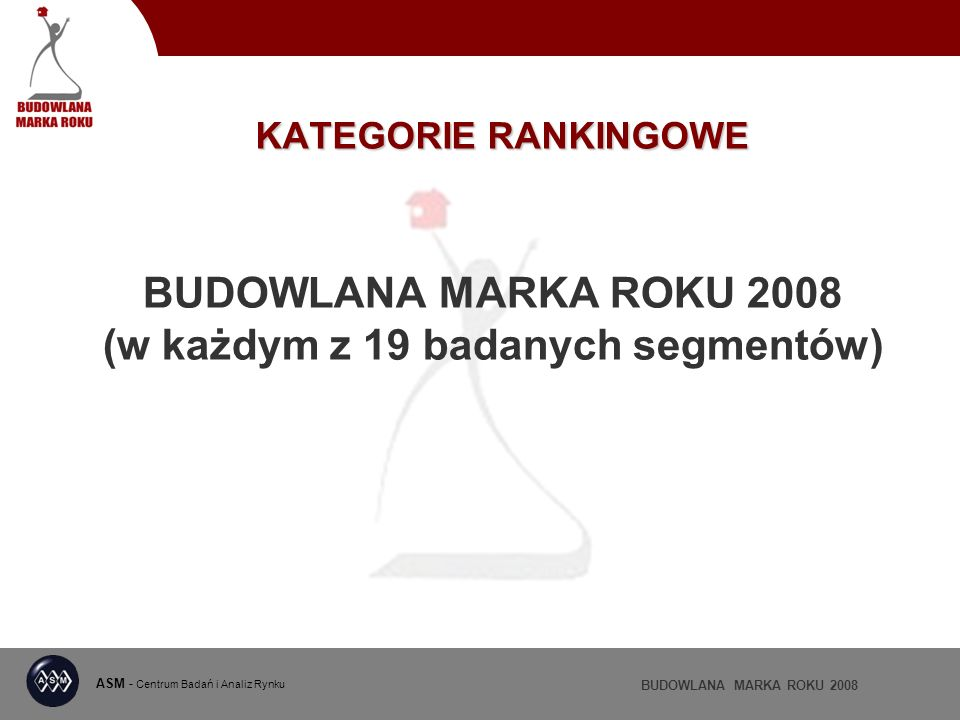 ASM - Centrum Badań i Analiz Rynku BUDOWLANA MARKA ROKU 2008 KATEGORIE RANKINGOWE BUDOWLANA MARKA ROKU 2008 (w każdym z 19 badanych segmentów)